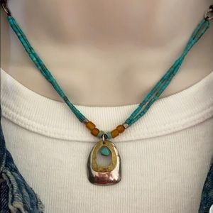 Silpada Turquoise Brass Necklace